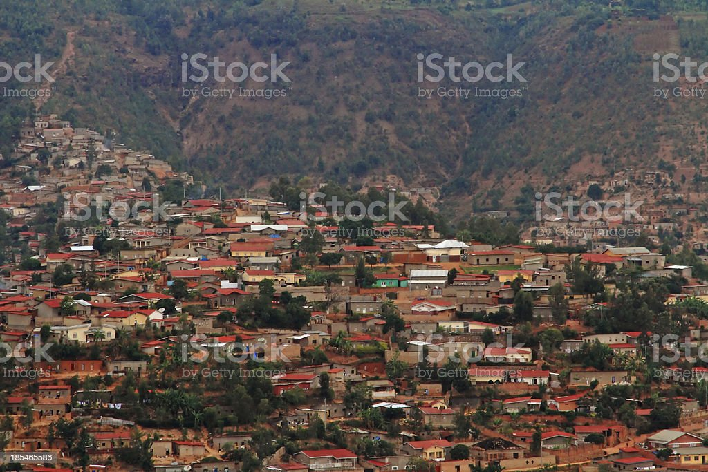Hillside Community in Kigali, Rwanda stock photo