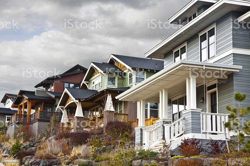 Hillside Contemporary Retro Houses stock photo