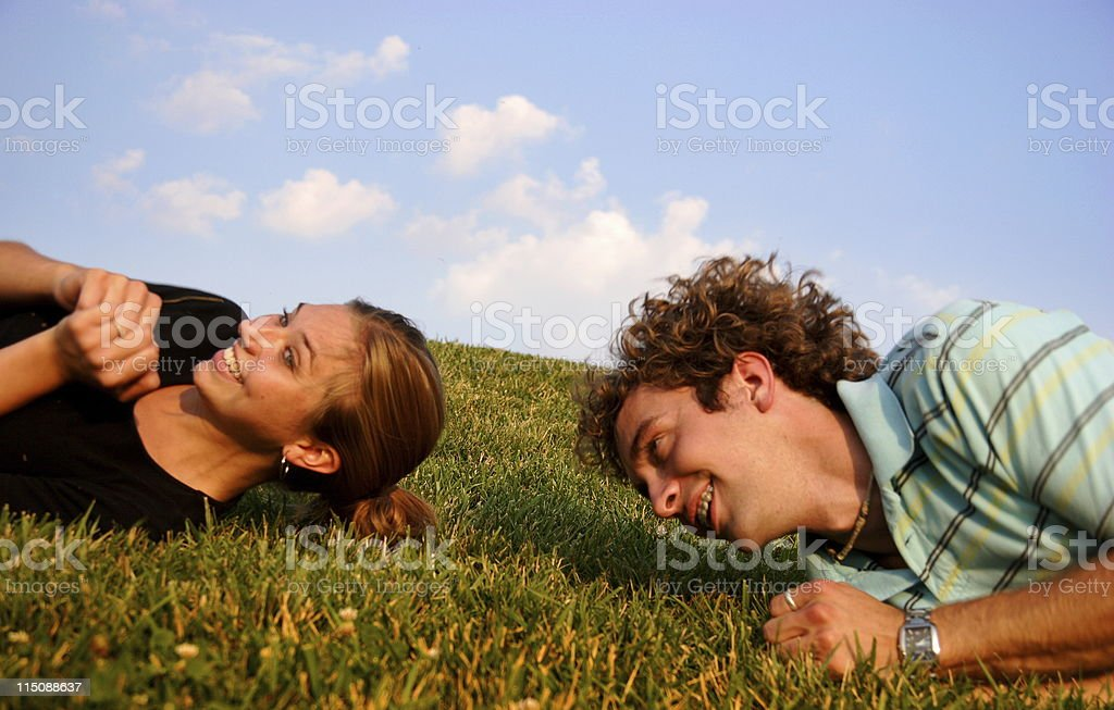 hillside couple portraits royalty-free stock photo