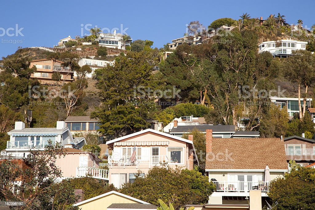 hillside homes stock photo
