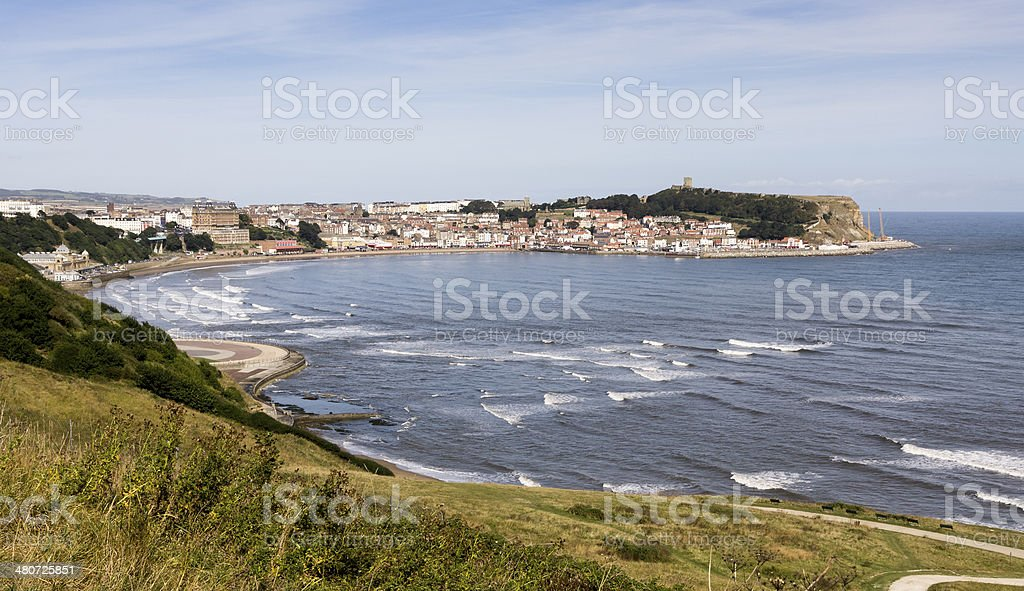 Hillside overlooking Scarborough town on the Yorkshire coast stock photo