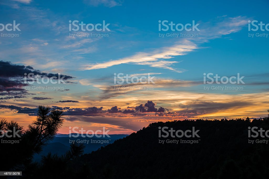 Hillside Sunset stock photo