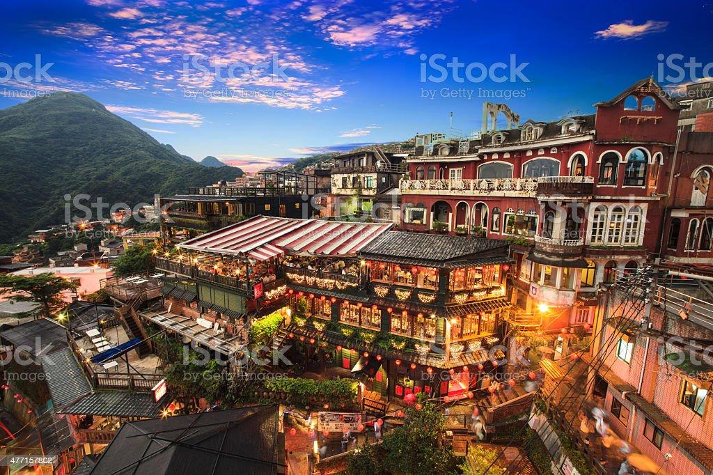 Hillside teahouses in Jiufen, Taiwan. stock photo