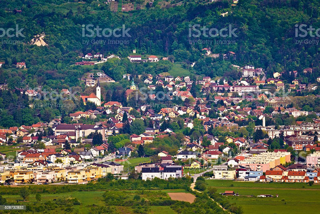 Hillside town of Samobor aerial view stock photo