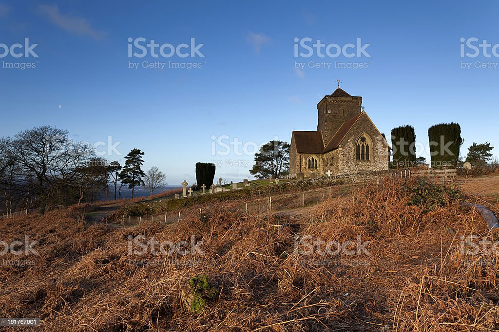 Hilltop Church at Dawn stock photo