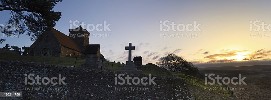 Hilltop Church Dawn Landscape stock photo