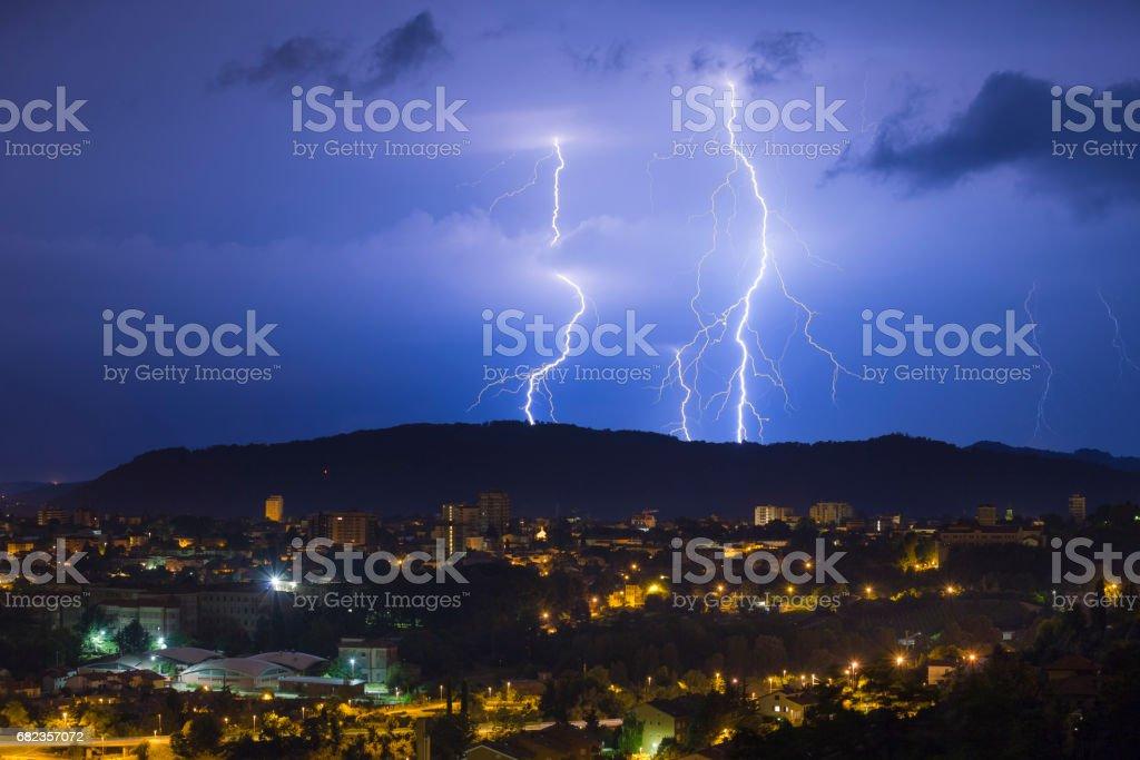Hilltop lightning strike stock photo