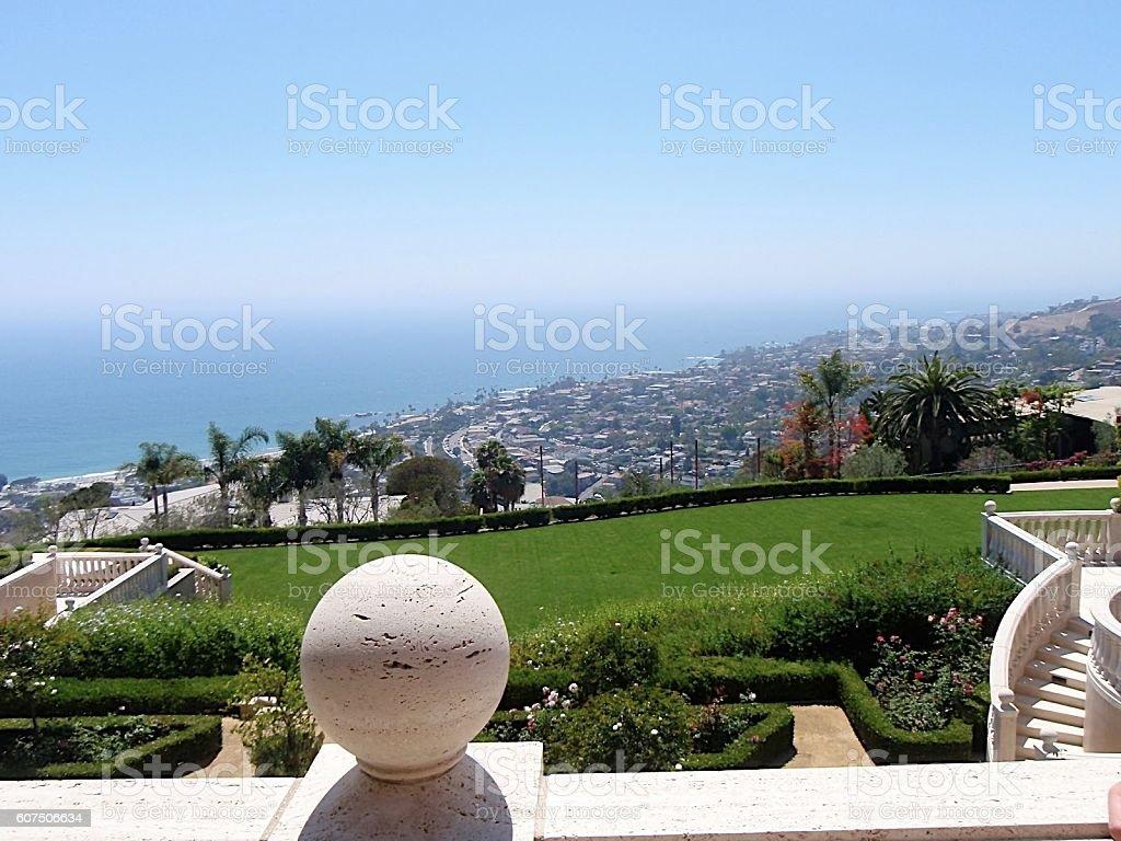 hilltop mansion stock photo