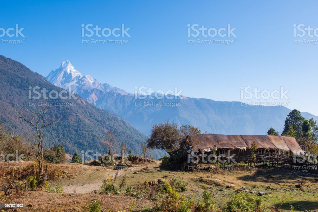 hilltop of snow mountain view on the way to Annapurna base camp stock photo