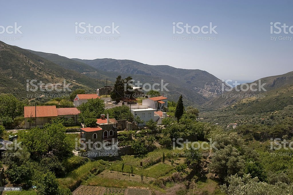 Hilltop Village, Crete stock photo