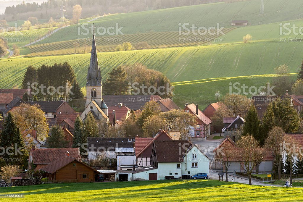 Hilly landscape and country town in Lower Saxony stock photo