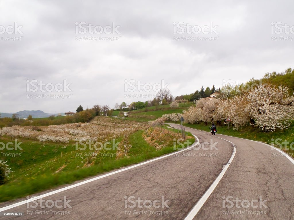 Hilly landscape of the green region stock photo