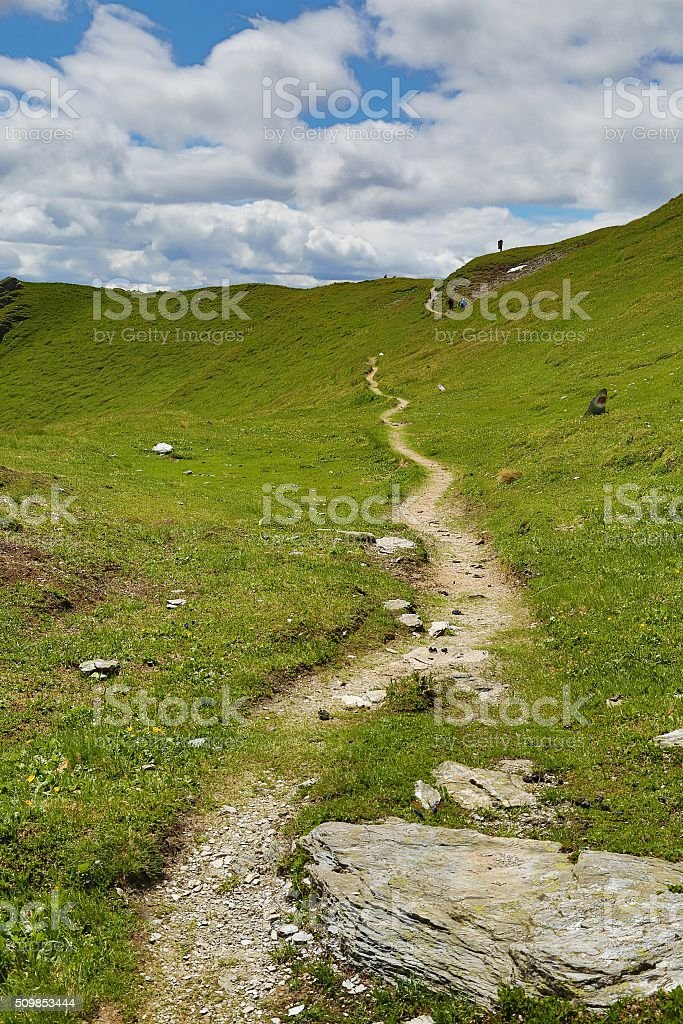 Hilly Landscape Path stock photo