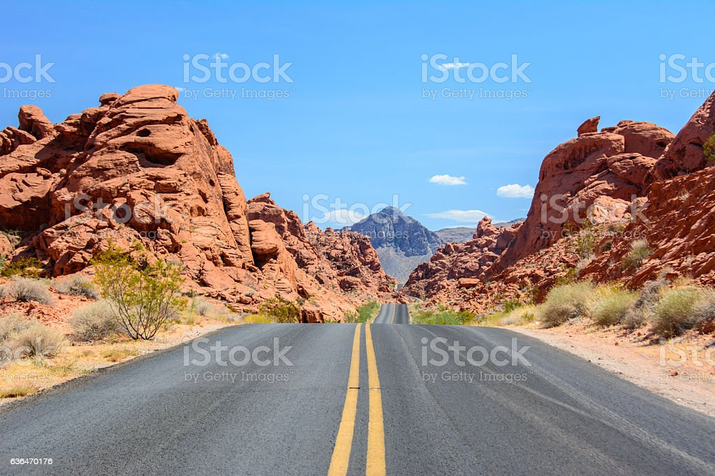 Hilly road in Valley of Fire State Park Nevada, USA stock photo
