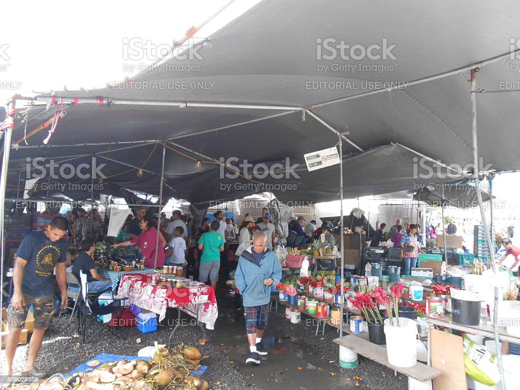 Hilo Farmers Market in Hilo, Big Island, Hawaii. stock photo
