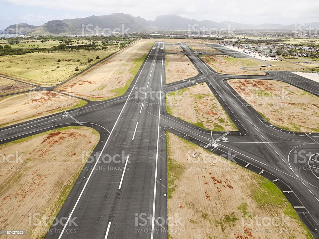 HIlo International Airport Runway, Hawaii stock photo
