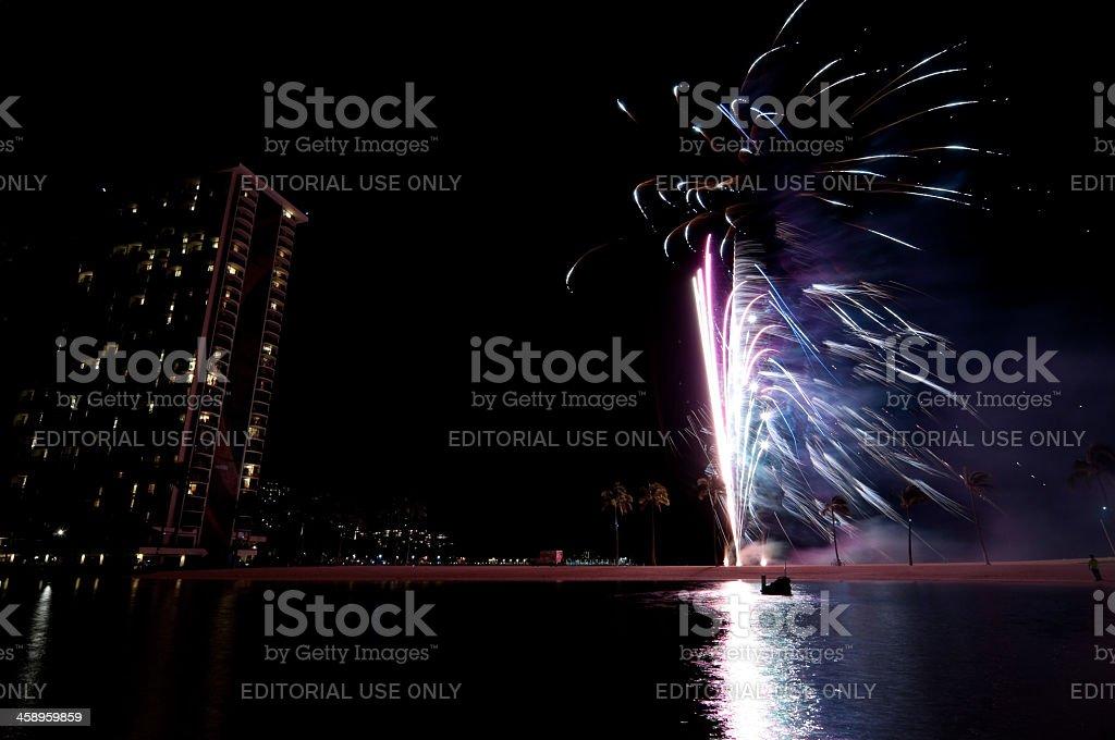 Hilton fireworks show royalty-free stock photo