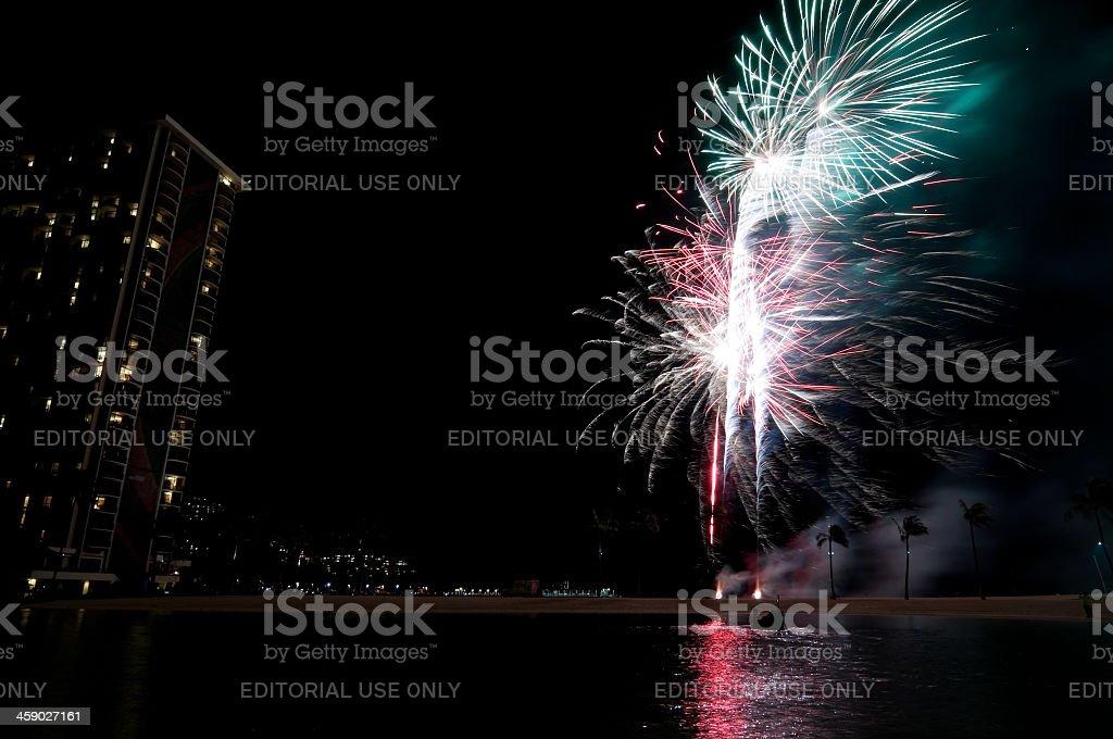 Hilton Hawaiian Village fireworks show royalty-free stock photo