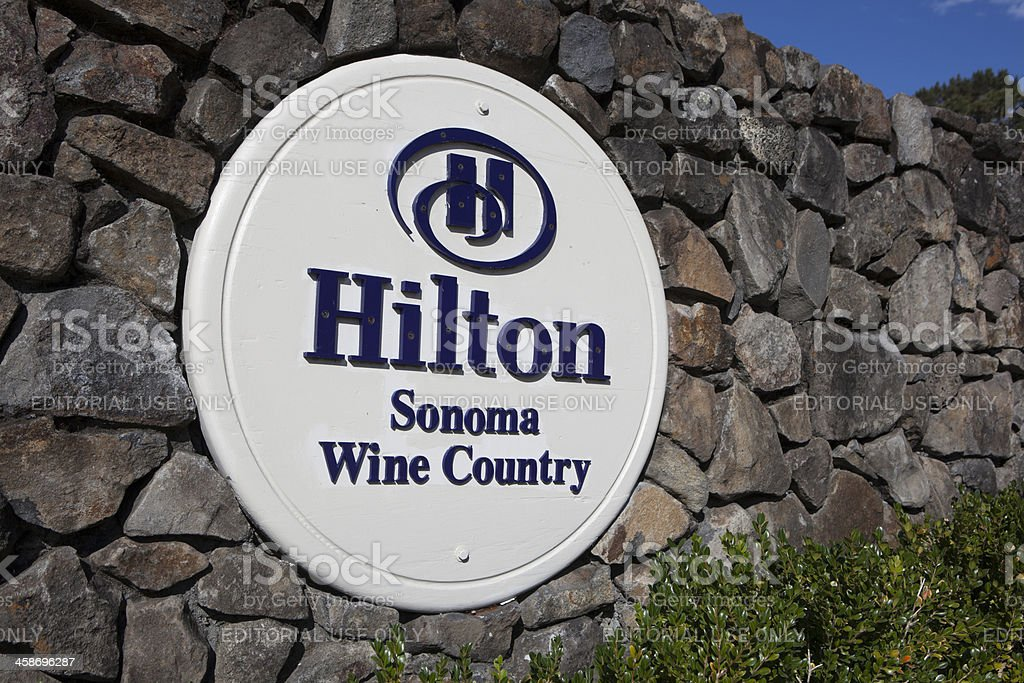 Hilton Sonoma Wine Country sign and logo stock photo