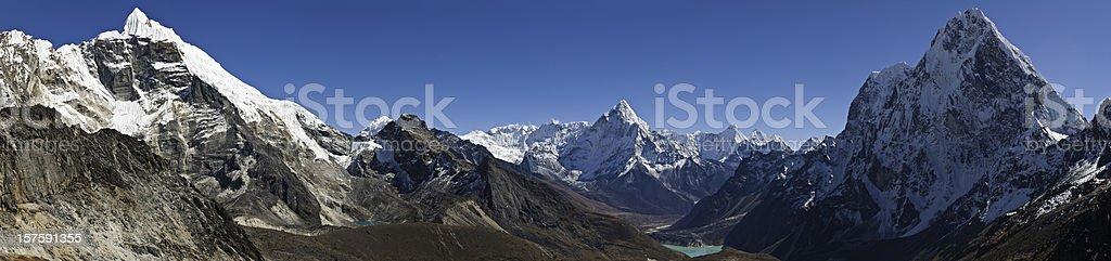 Himalaya high altitude Labouche Ama Dablam Cholatse Khumbu panorama Nepal stock photo