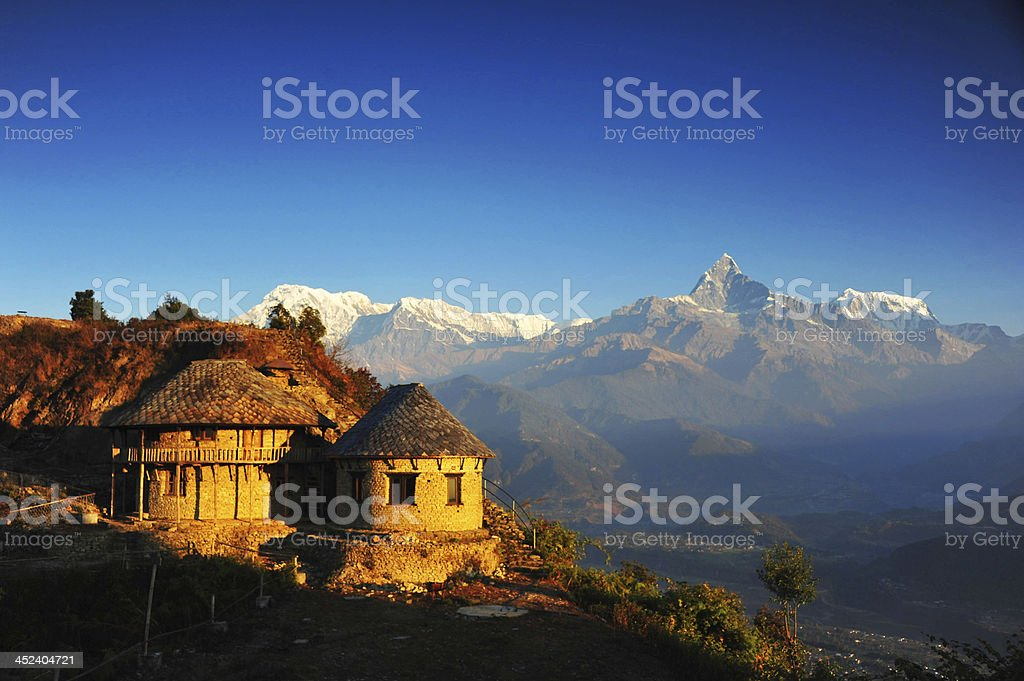 himalaya house in viewpoint of Sarangkot village stock photo
