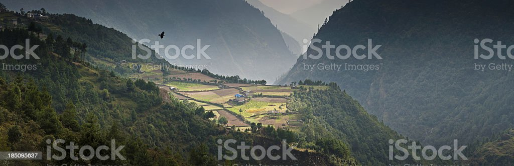 Himalaya mountain farm remote valleys stock photo