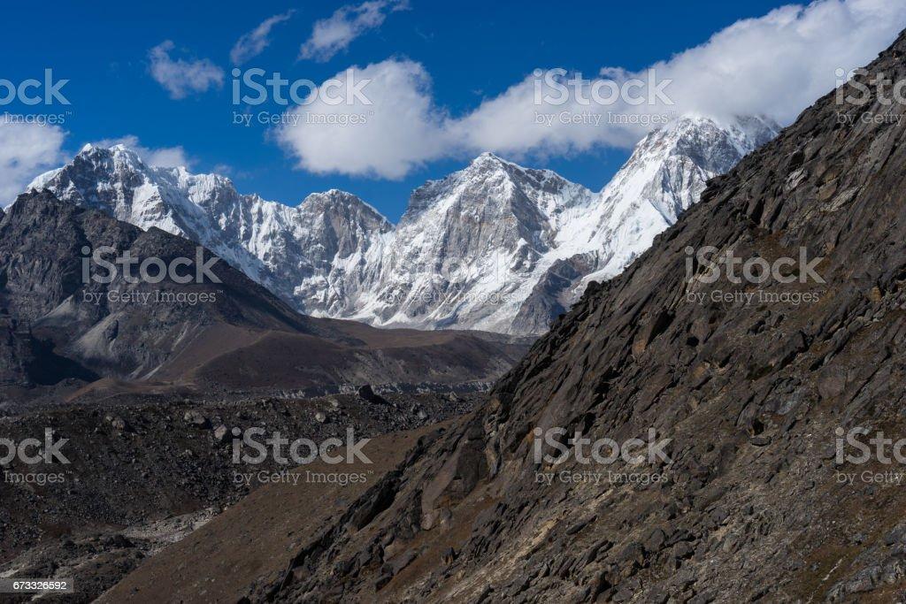 Himalaya mountain landscape from top of Kongma la pass, Everest region, Nepal stock photo