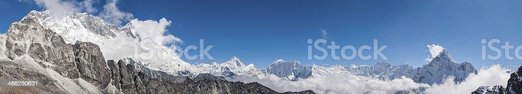 Himalaya mountain panorama Nuptse Lhotse Makalu Island Peak Ama Dablam royalty-free stock photo