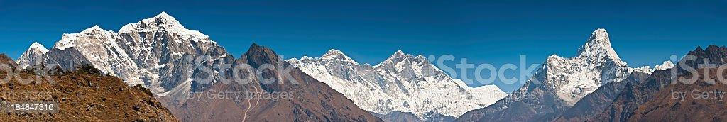 Himalaya mountain peaks panorama Mt Everest Ama Dablam Nepal royalty-free stock photo