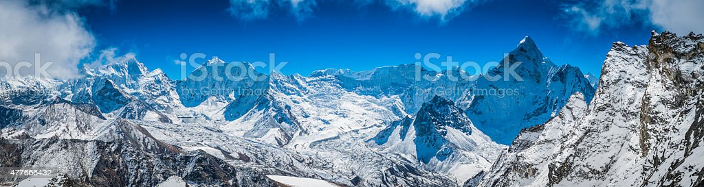 Himalaya mountain summits panorama Island Peak Makalu Baruntse Ama Dablam stock photo