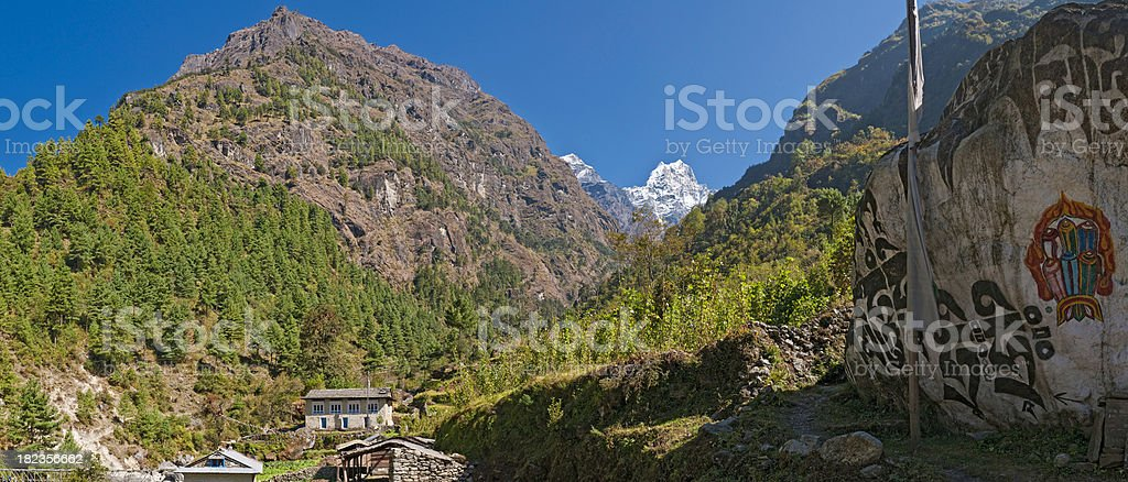Himalaya mountain valley traditional buddhist mani stone panorama Khumbu Nepal stock photo