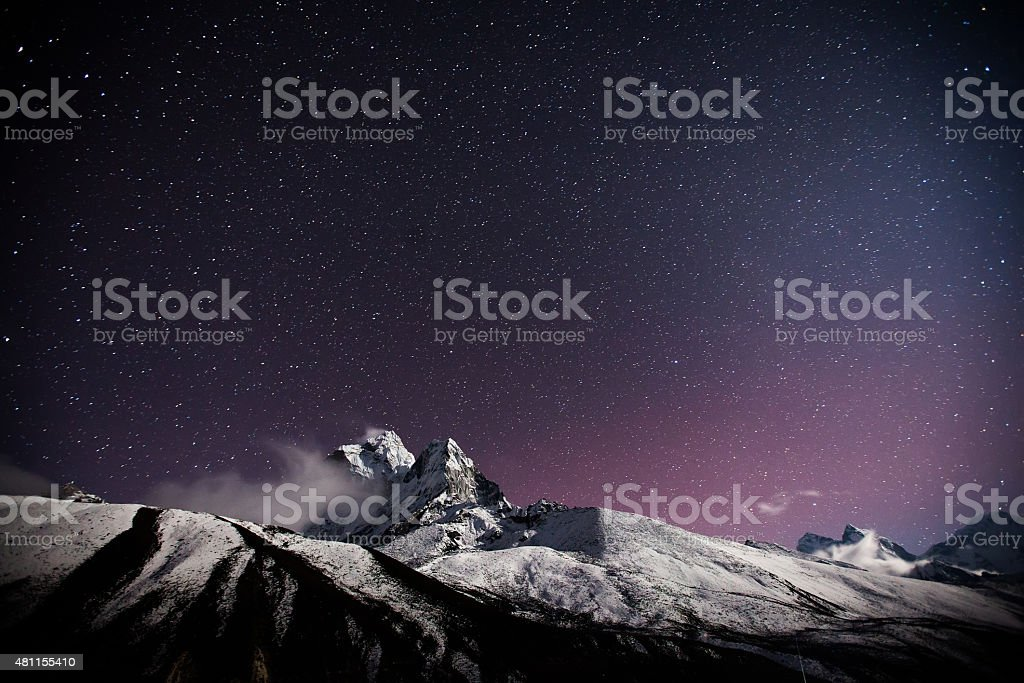 himalaya mountain with star in night time stock photo