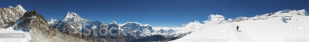 Himalaya mountaineering super panorama climbers Sherpas ascending Mera Peak Nepal stock photo