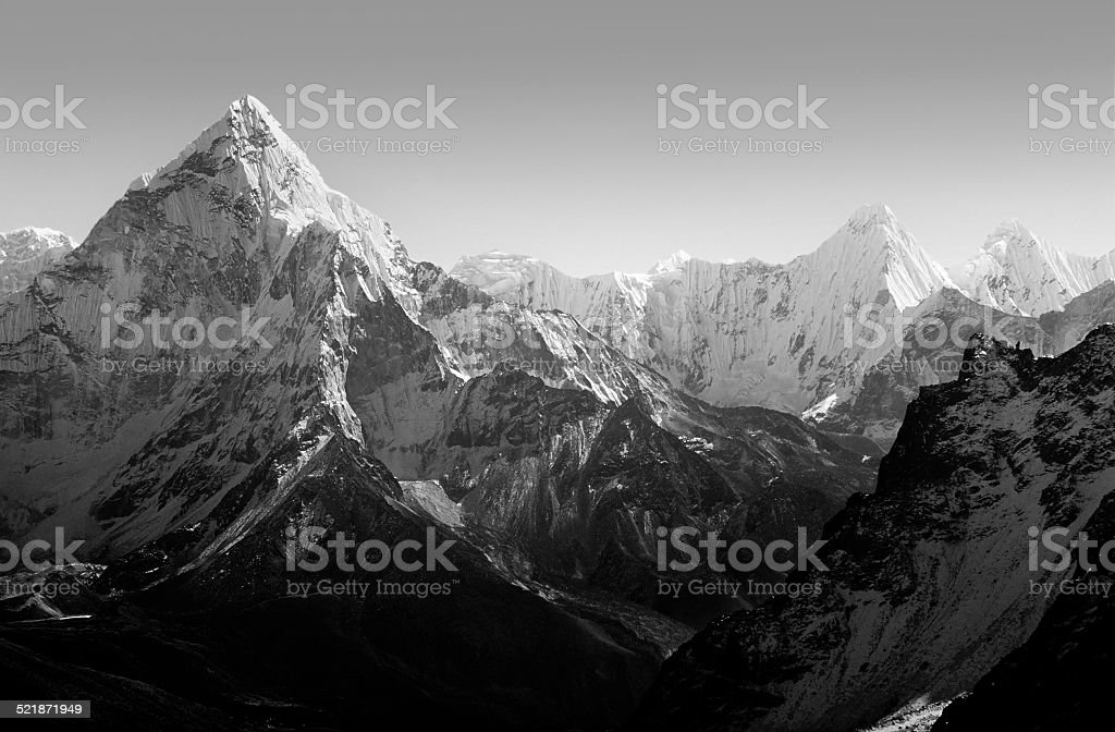 Himalaya Mountains Black and White stock photo