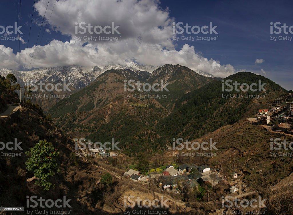 Himalaya mountains view stock photo