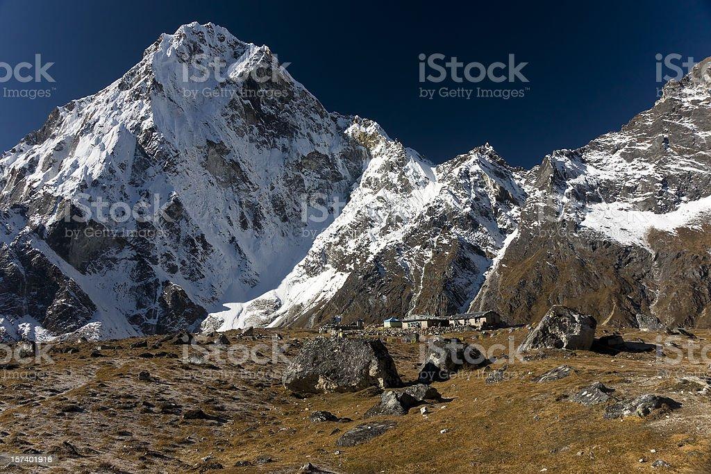 Himalaya Nepal Arkam Tse (6335m) seen from Dzonghla. Great details! royalty-free stock photo