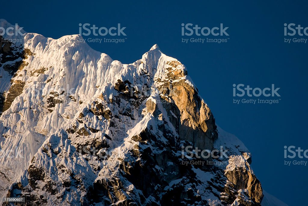 Himalaya Nepal Arkam Tse (6335m) seen from Dzonghla. Great details! royalty-free stock photo