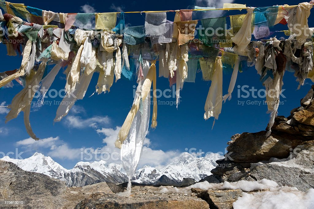 Himalaya Nepal. Everest seen from Renjo La (5340m) Great details! stock photo