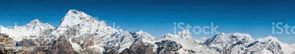 Himalaya peaks panorama Makalu Chamlang Everest NP Nepal royalty-free stock photo