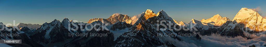 Himalaya peaks sunset panorama Everest Makalu Nepal stock photo