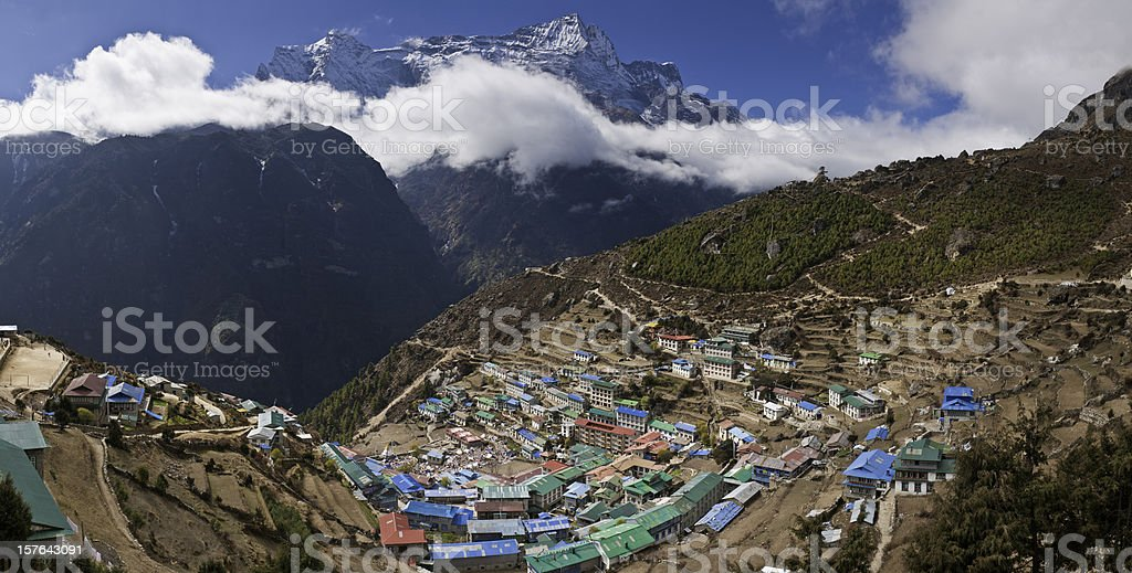 Himalaya Sherpa village Namche Bazar Mt Everest National Park Nepal stock photo