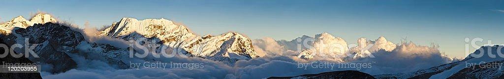 Himalaya snow mountain summit sunset super panorama Pyramid Peak Nepal royalty-free stock photo