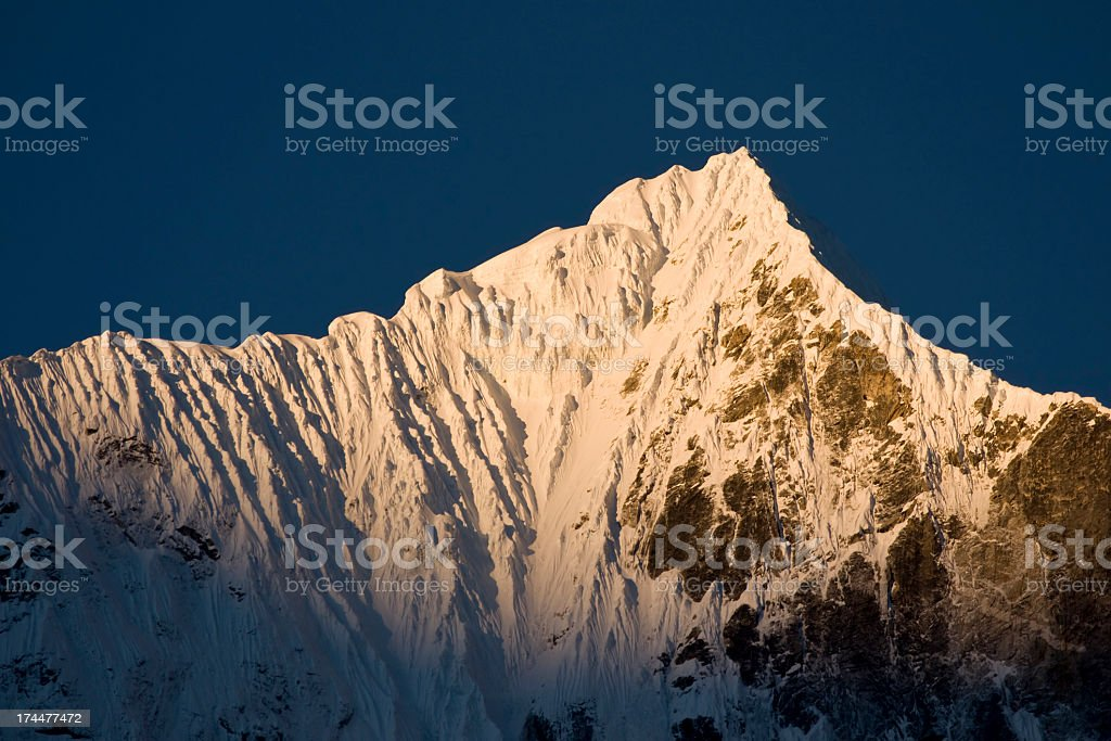 Himalaya. Sunrise on Lho(6186m) Great details! See full size photo royalty-free stock photo