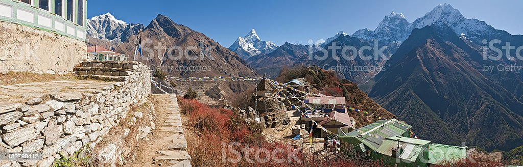 Himalaya tea house prayer flags stupa Mt Everest trail Nepal royalty-free stock photo