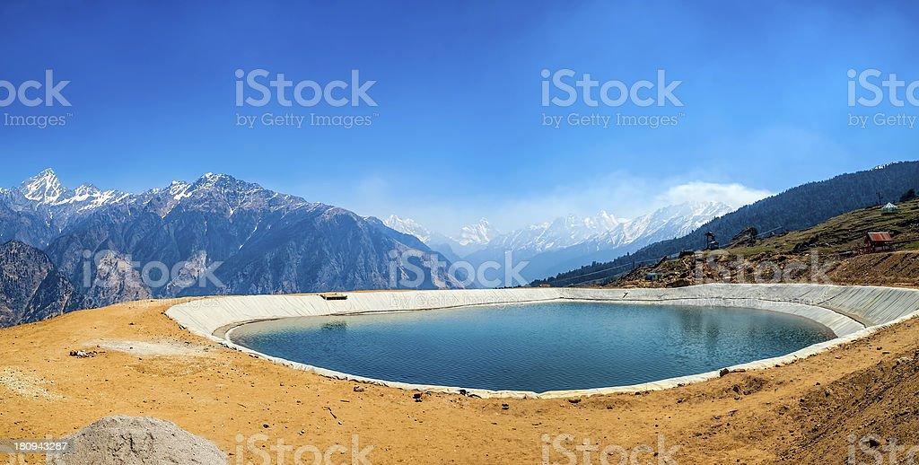 Himalayan artificial lake stock photo