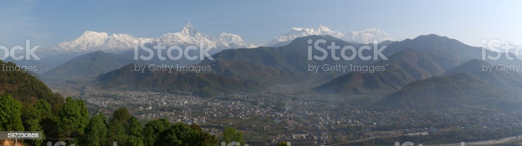 Himalayan Front from Sarangkot stock photo