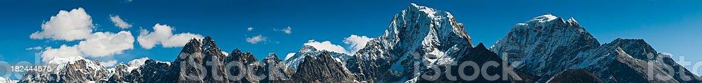 Himalayan mega panorama Mt Everest high altitude peaks Nepal royalty-free stock photo