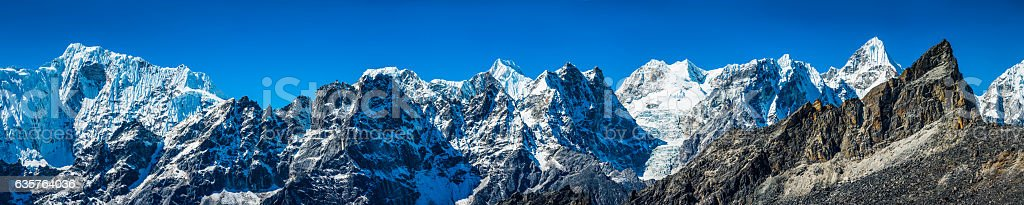 Himalayan mountain peaks super panorama snow summits Everest NP Nepal stock photo