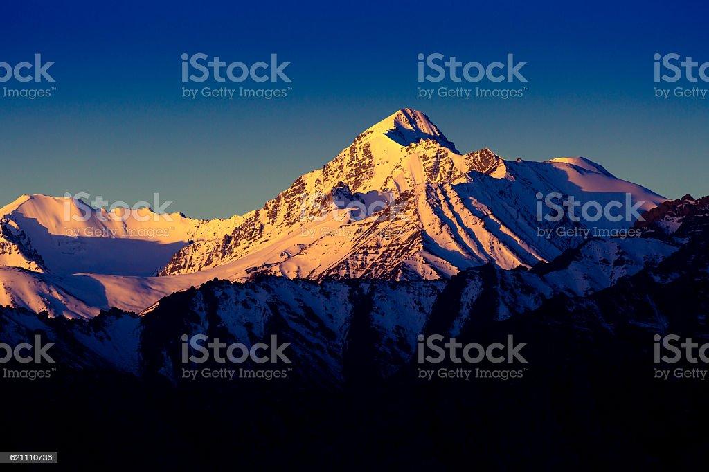 Himalayan mountain range during sunrise stock photo