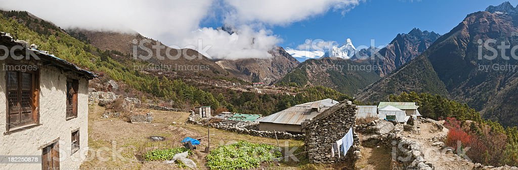Himalayan mountain village homes Ama Dablam Tengboche panorama Nepal Asia stock photo